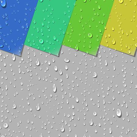 Water Drops Transparant naadloos patroon. Kleurrijke Papieren labels met gekrulde hoek Achtergrond voorbeelden. vector Illustration