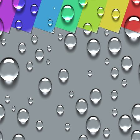curled corner: Water Transparent Drops Seamless Pattern. Colorful Paper Labels with Curled Corner Background Examples. Vector Illustration