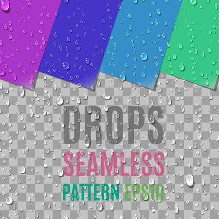 Realistic Water Transparent Drops Seamless Pattern. Colorful Paper Labels with Curled Corner Background Examples. Vector Illustration
