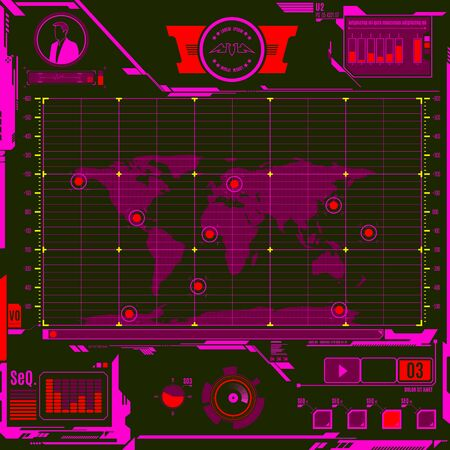 HUD Head-up display navigation map screen elements. Futuristic modern user interface. Vector graphic.