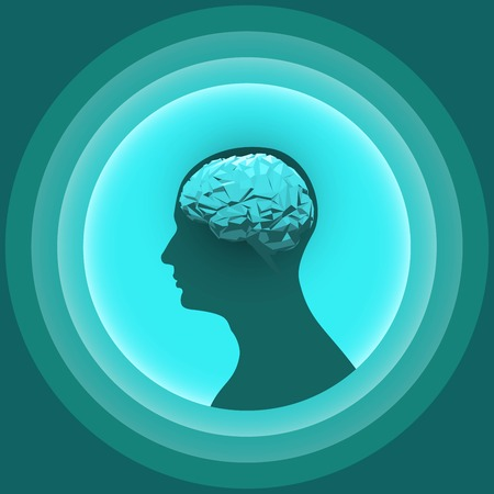 Silhouette of the human head with glowing brain. Design element for graphic media of medicinal products. Vector illustration