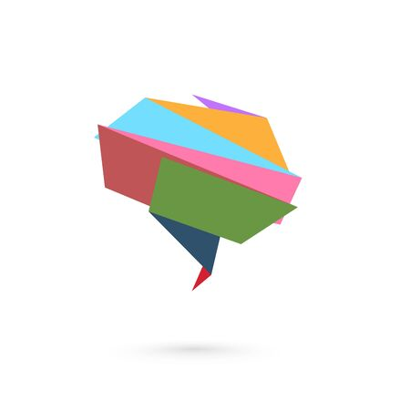 Abstract folded paper symbol of brain. Vector illustration Ilustracja