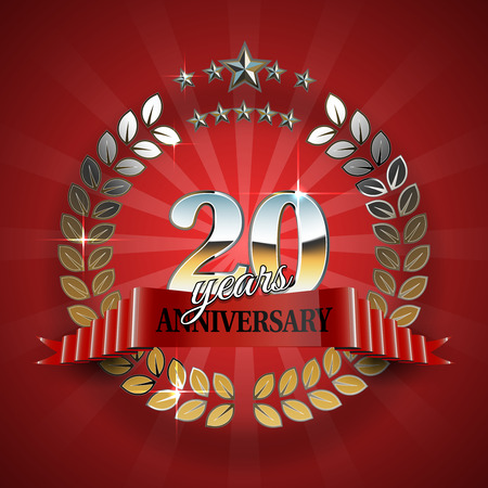 20th anniversary gold wreath. Golden frame for 20th anniversary. Vector illustration Ilustracja