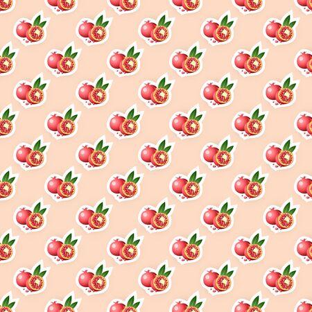 food preservation: Seamless pattern background with pomegrade fruit. Pomegrade fruit seamless pattern. Seamless background for packaging design of pomegrade fruit products or pomegrade taste. Vector illustration