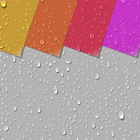 リアルな水の透明な滴シームレス パターン。カラフルな紙ラベル背景の例です。ベクトル図
