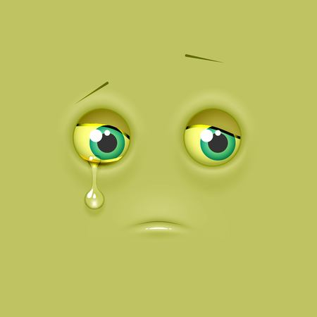 Cute lonely emoticon, shaded emoji on flat square background