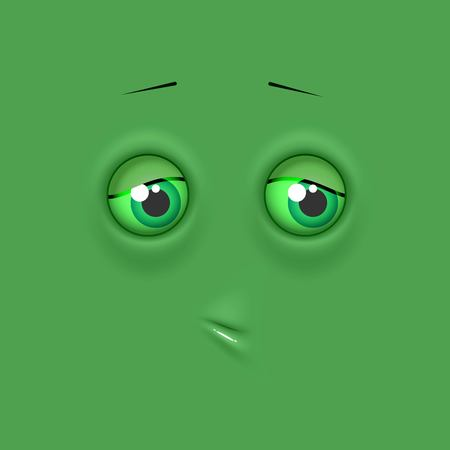 Green cute lonely emoticon on flat square background