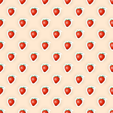 Seamless background for packaging design of strawberry fruit products or strawberry taste. Vector illustration Ilustracja