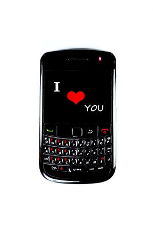 Mobile phone display 'I love You' with white background photo
