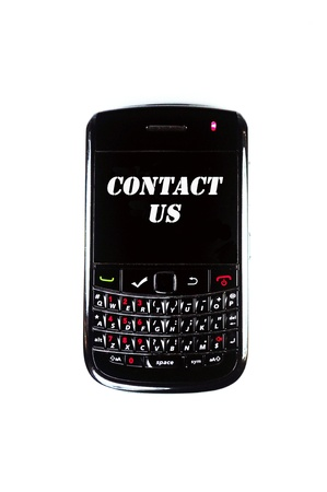 Mobile phone display Contact Us with white background