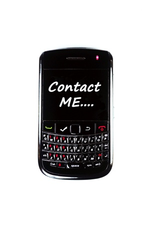Mobile phone display Contact Me with white background Stock Photo