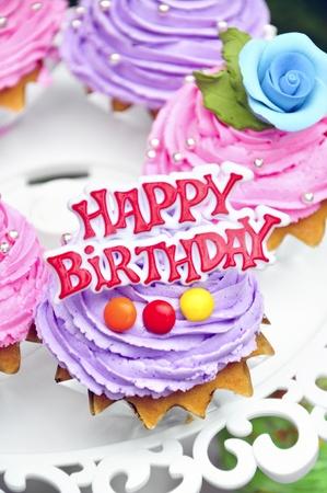 purple cookies cake say happy birthday Stock Photo - 13109038