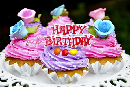 happy birthday cookie with garnished flower