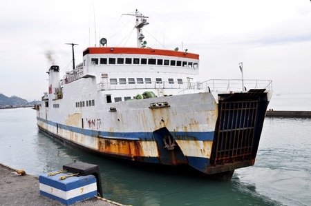 ship leave a port in indonesia