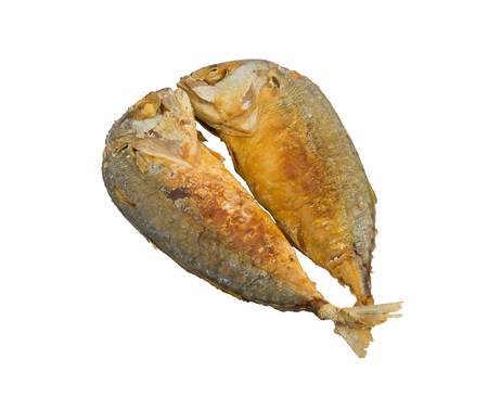 Two fried fish on white background photo