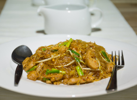 PadThai chicken vermicelli Thai food photo