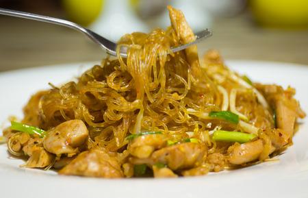 padthai: PadThai chicken vermicelli Thai food Stock Photo