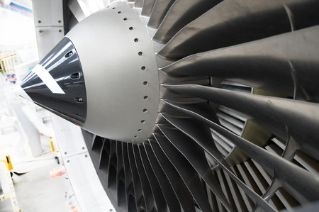 air plane: jet engine fan Stock Photo
