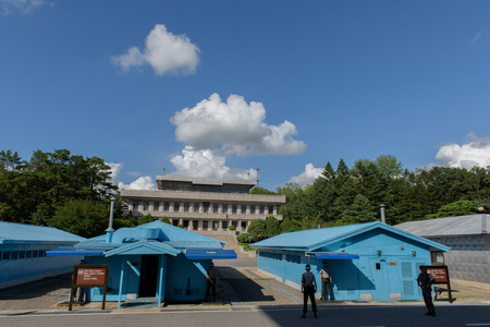 middle joint: 2015-07-21 Panmunjom - Demilitarized zone, South Korea -Confernece rooms on border between South and Noth Korea guarderd by soldiers Editorial