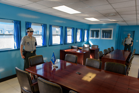 2015-07-21 Panmunjom - Demilitarized zone, South Korea - South Korean soldiers inside the Conference room at Demiliterized Zone, on borders between South and North Korea