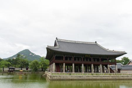 Gardens in Gwanghwamun Seoul Royal Palace. South Korea