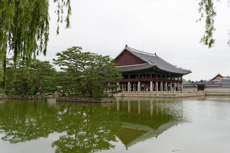 Gardens in Gwanghwamun Royal Palace. South Korea
