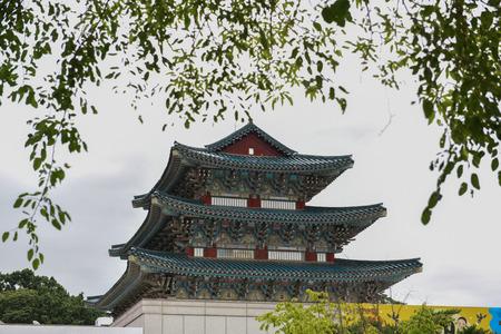 Pagoda near National folk museum of Korea in Seoul, South Korea during cloudy hot summer day