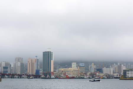 Low clouds in Busan Harbour