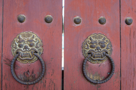 An ornate door knocker at Bulguksa Temple in Gyeongju, South Korea. Stock Photo