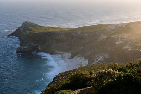 Picture of distance view of Cape Of Good Hope during sunset. Cape Town, South Africa Stock Photo