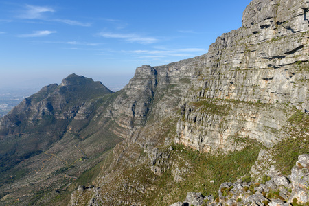 View from Cable car towards the top of Table Mountain. Cape Town, South Africa