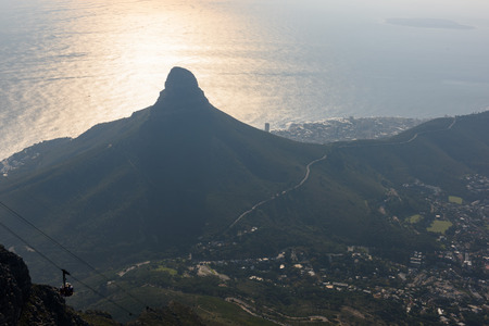 Lions head in Cape Town during the sunset