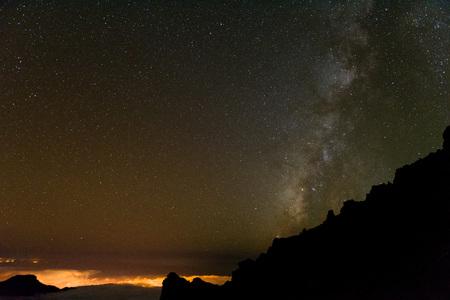 Stargrazing over Volcan De Taburiente in La Palma.