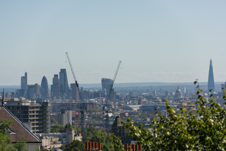 urban sprawl: View of Central London with skyscrapers from distance Stock Photo