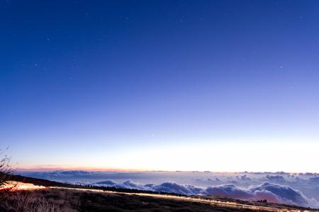 Night road above clouds on La Palma island Stock Photo