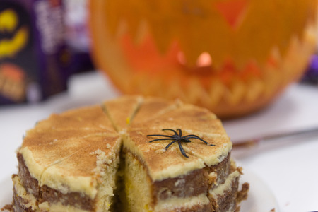 Halloween cake with spider on it Stock Photo