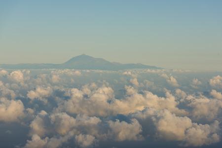View of El Teide vulacono located in Tenerife island from La Palma Island