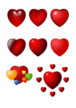 Valentine heart vector icon set Vector