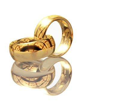 3D two wedding ring on a white background Stock Photo