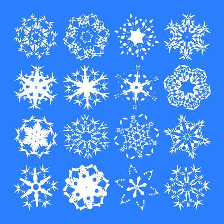 Snowflakes (płatki śniegu Biały wektora na niebieskim tle) Zdjęcie Seryjne - 2598136