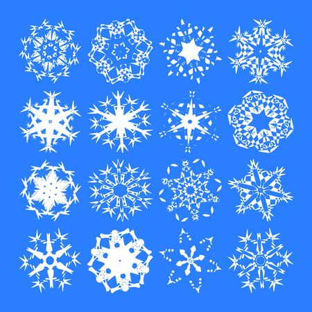Snowflakes (White vector snowflakes on a blue background) Stock Vector - 2598136