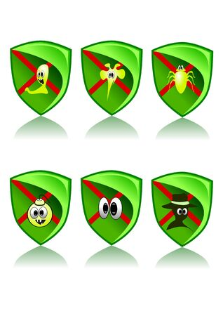 Green Web Icons Set - Safety (Vector illustration) Vector