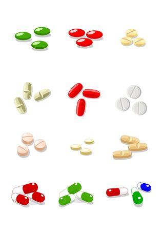 12 vector pills on white background
