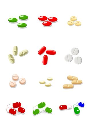 12 vector pills on white background