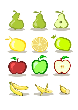 Set of vector fruits on white background Stock Vector - 3668617