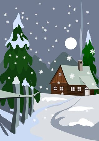 Illustration of house in snow forest Vector