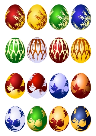 stylization: Easter eggs vector icon set