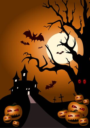Halloween abstract background ( vector illustration ) Illustration