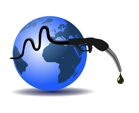 refueling: Earth and refueling hose, abstract design Illustration