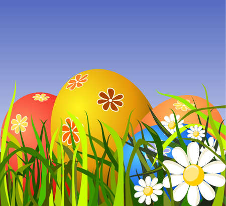 Colorful Easter eggs on grass Stock Photo - 4837472